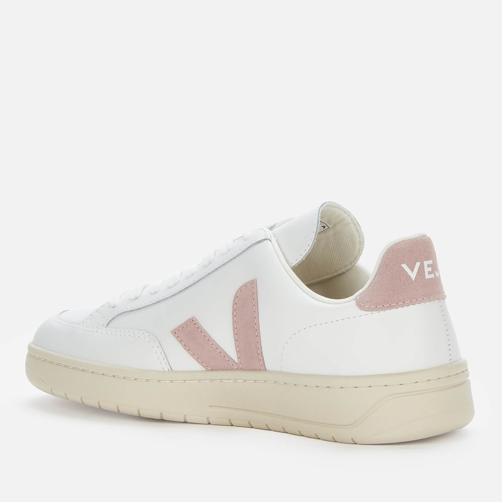 Veja Women's V-12 Leather Trainers - Extra White/Babe