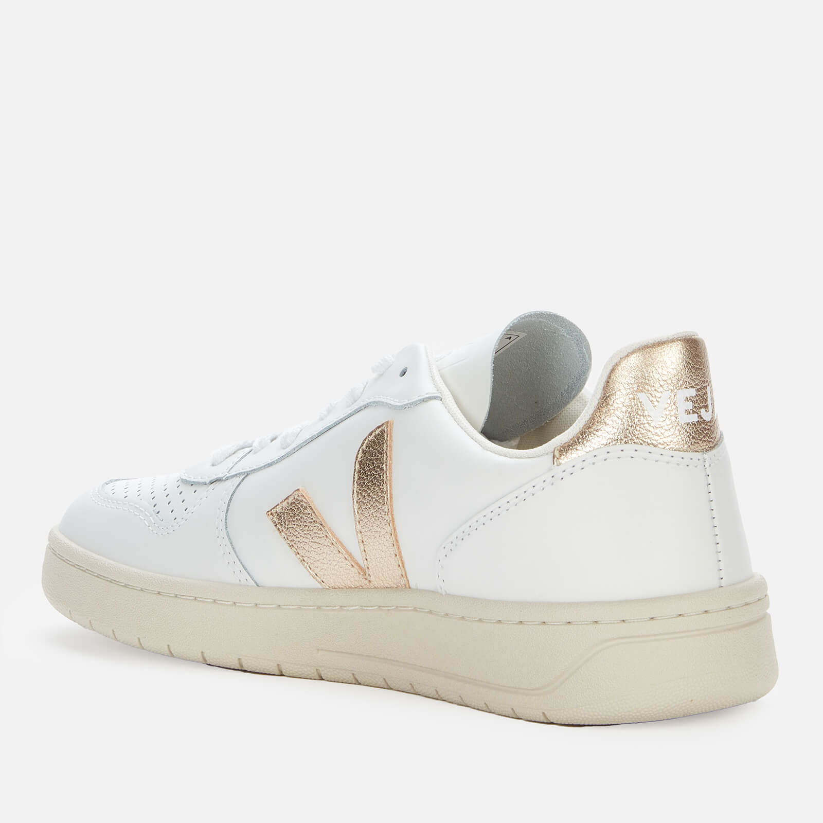 Veja Women's V10 Leather Trainers - Extra White/Platine