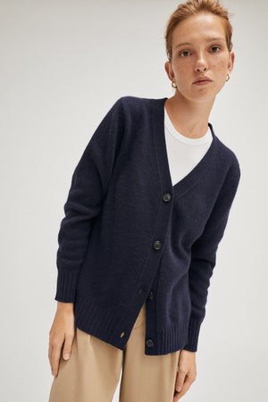The Upcycled Cashmere Cardigan - Blue Navy