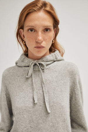 Artknit Studios The Upcycled Cashmere Hoodie - Light Grey