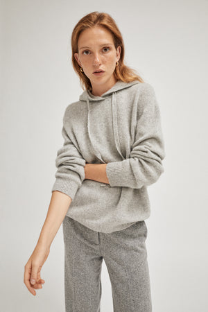 The Upcycled Cashmere Hoodie - Light Grey