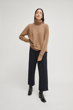 The Upcycled Cashmere Roll-Neck Sweater - Camel