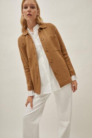 The Linen Cotton Overshirt - Camel