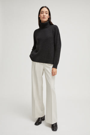 The Upcycled Cashmere Roll-Neck Sweater - Anthracite Grey