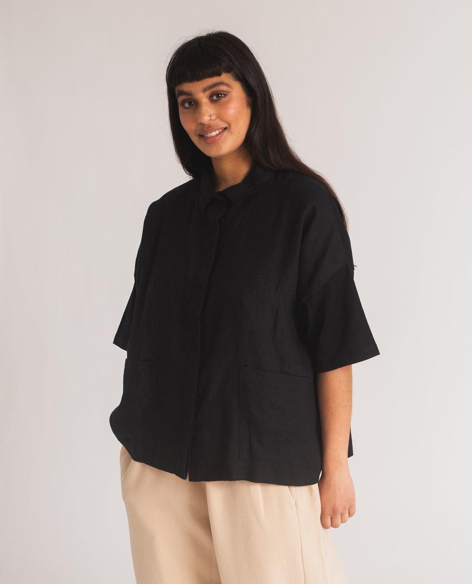 Naomi-May Organic Cotton & Linen Shirt In Black