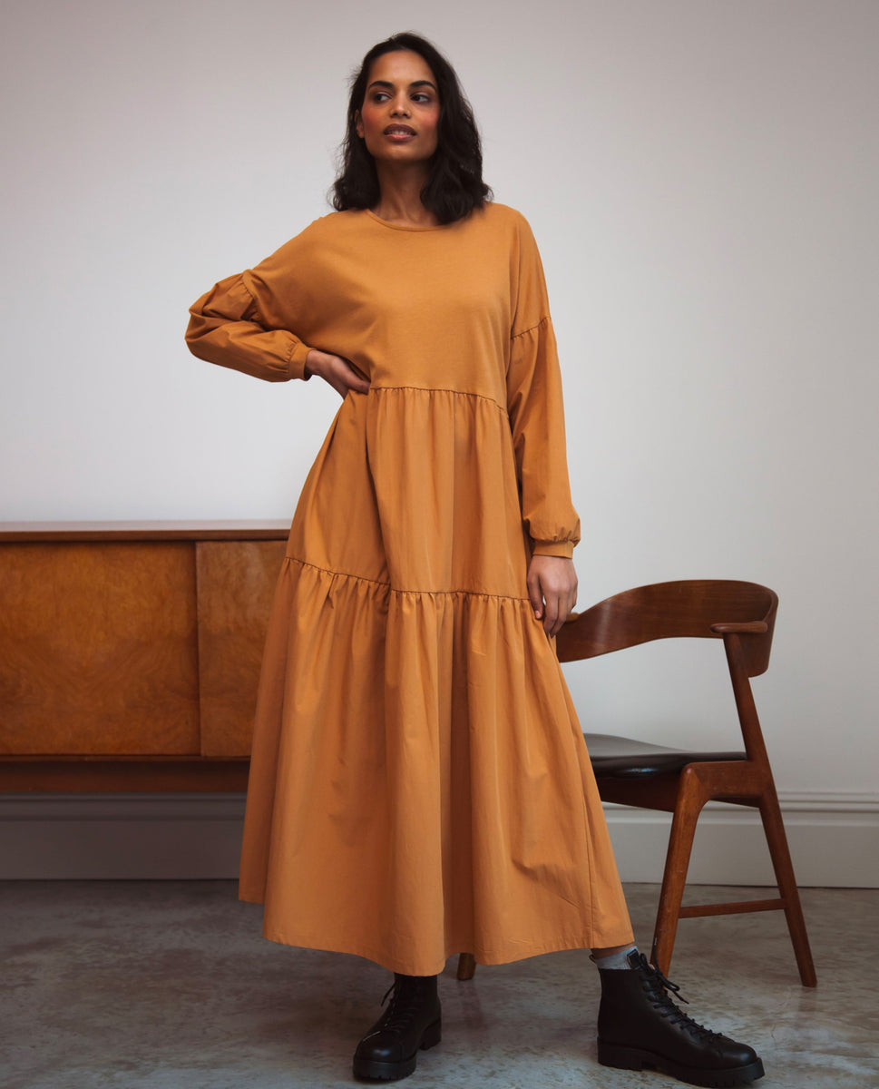 Mirabelle Organic Cotton Dress In Almond