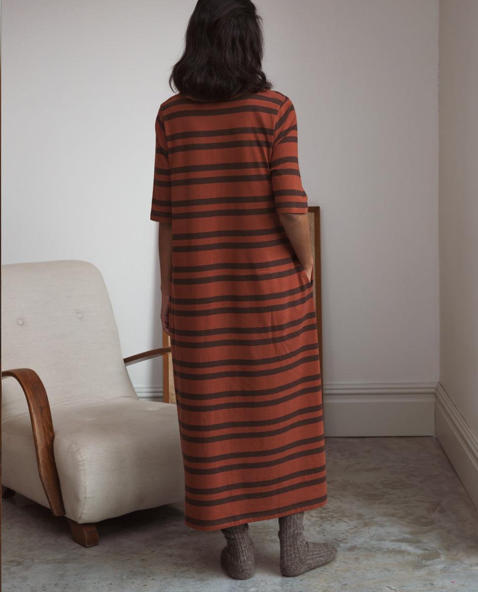 Beaumont Organic Victoria-Sue Organic Cotton Dress In Tortoiseshell & Chocolate