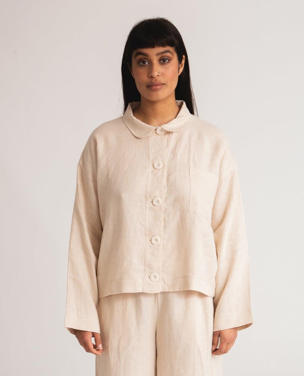 Zanna Linen Jacket In Cream