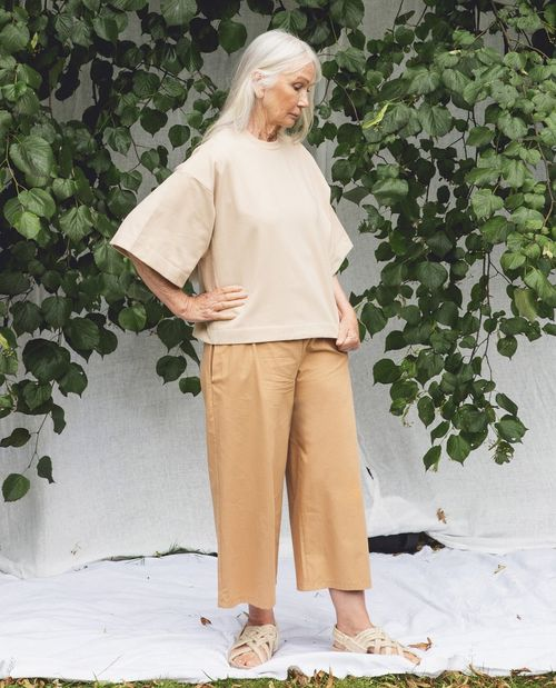 Adrienne Organic Cotton Trousers In Camel.