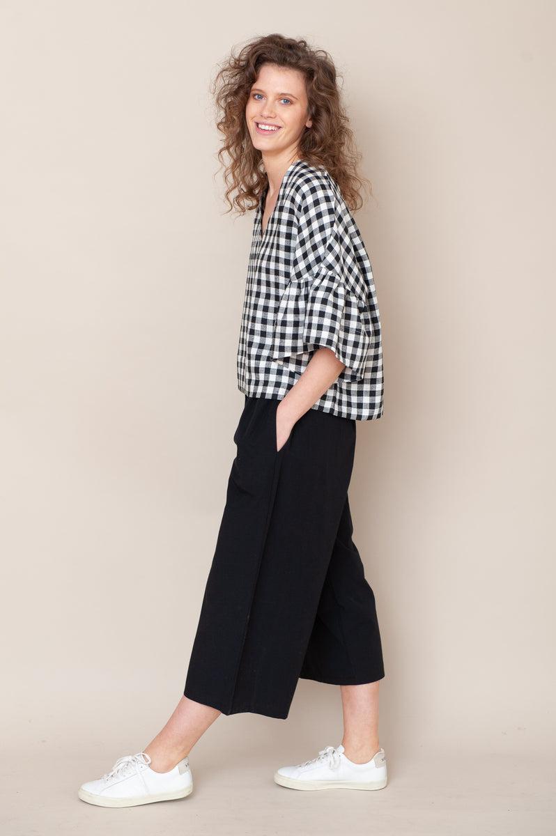Adrienne Organic Cotton Trouser In Black