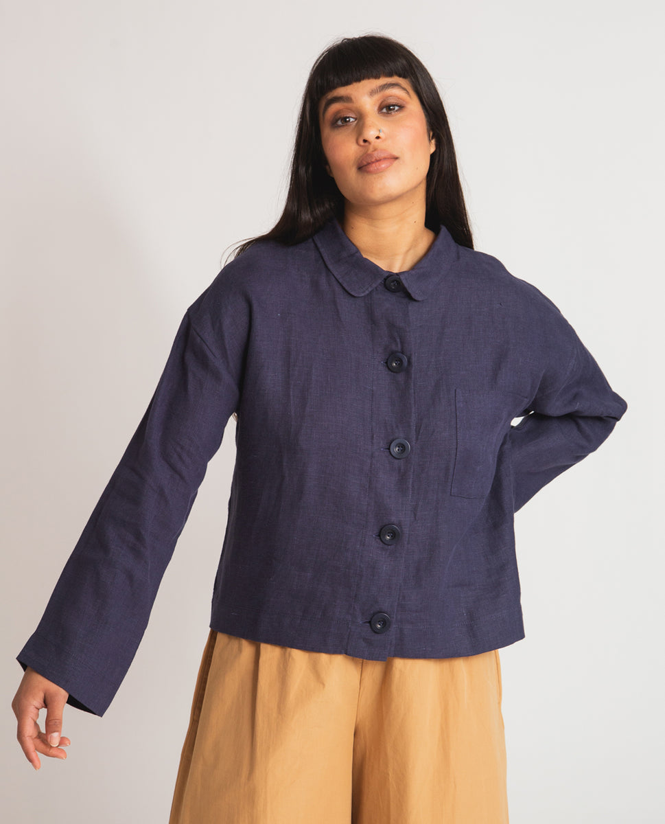 Zanna Linen Jacket In Navy