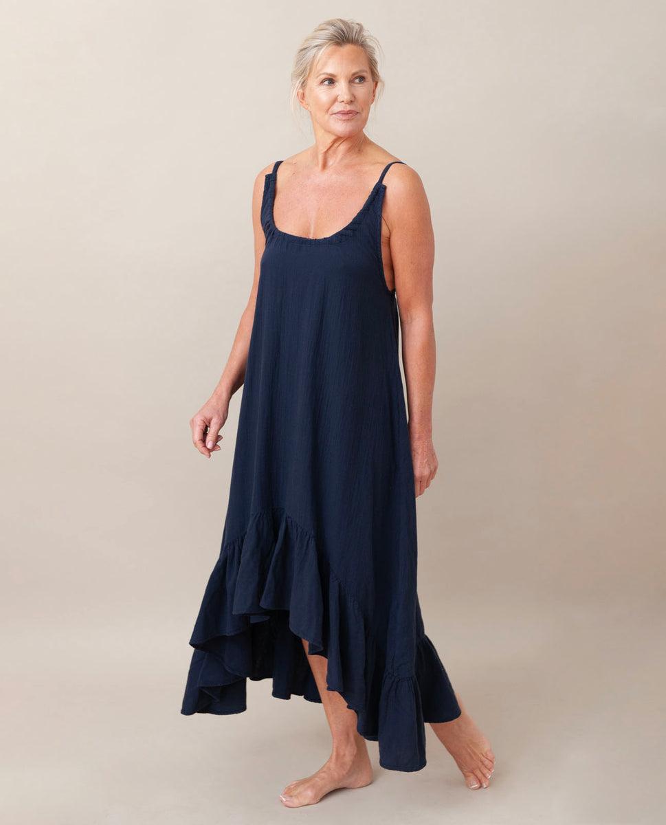 Beaumont Organic Belmira Organic Cotton Dress In Navy
