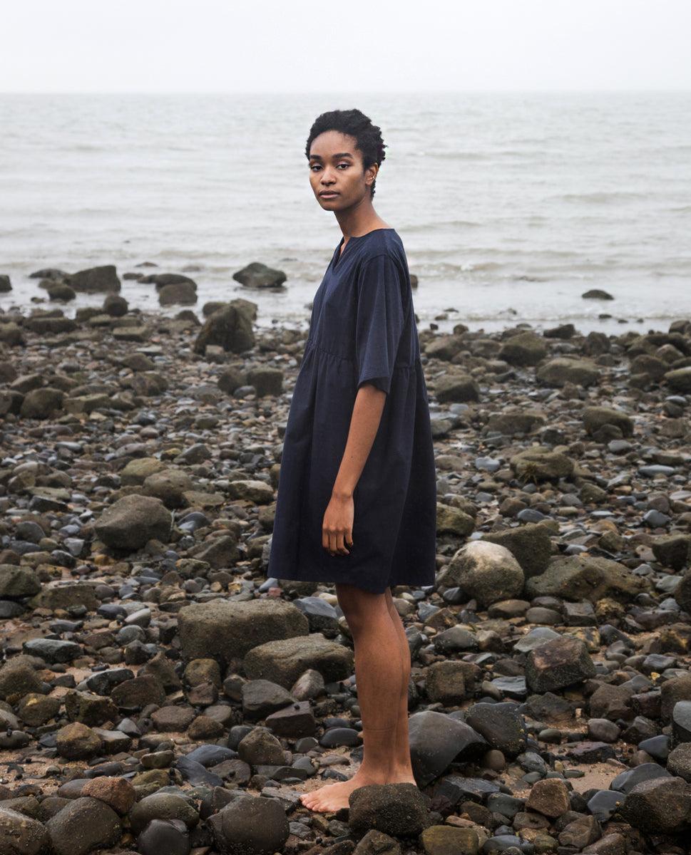 Anny Organic Cotton Dress In Navy