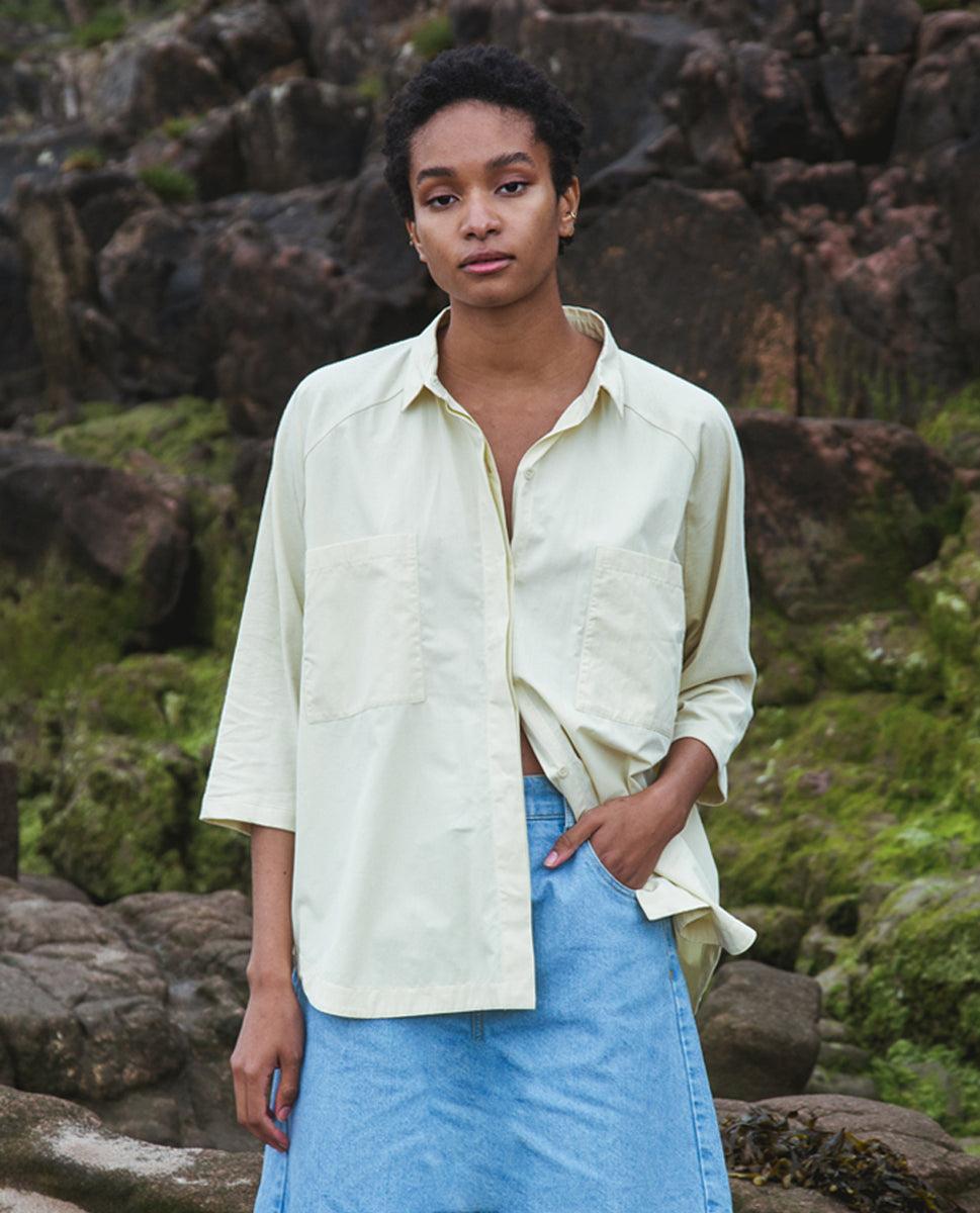 Beaumont Organic Stephanie Organic Cotton Shirt In Soft Green