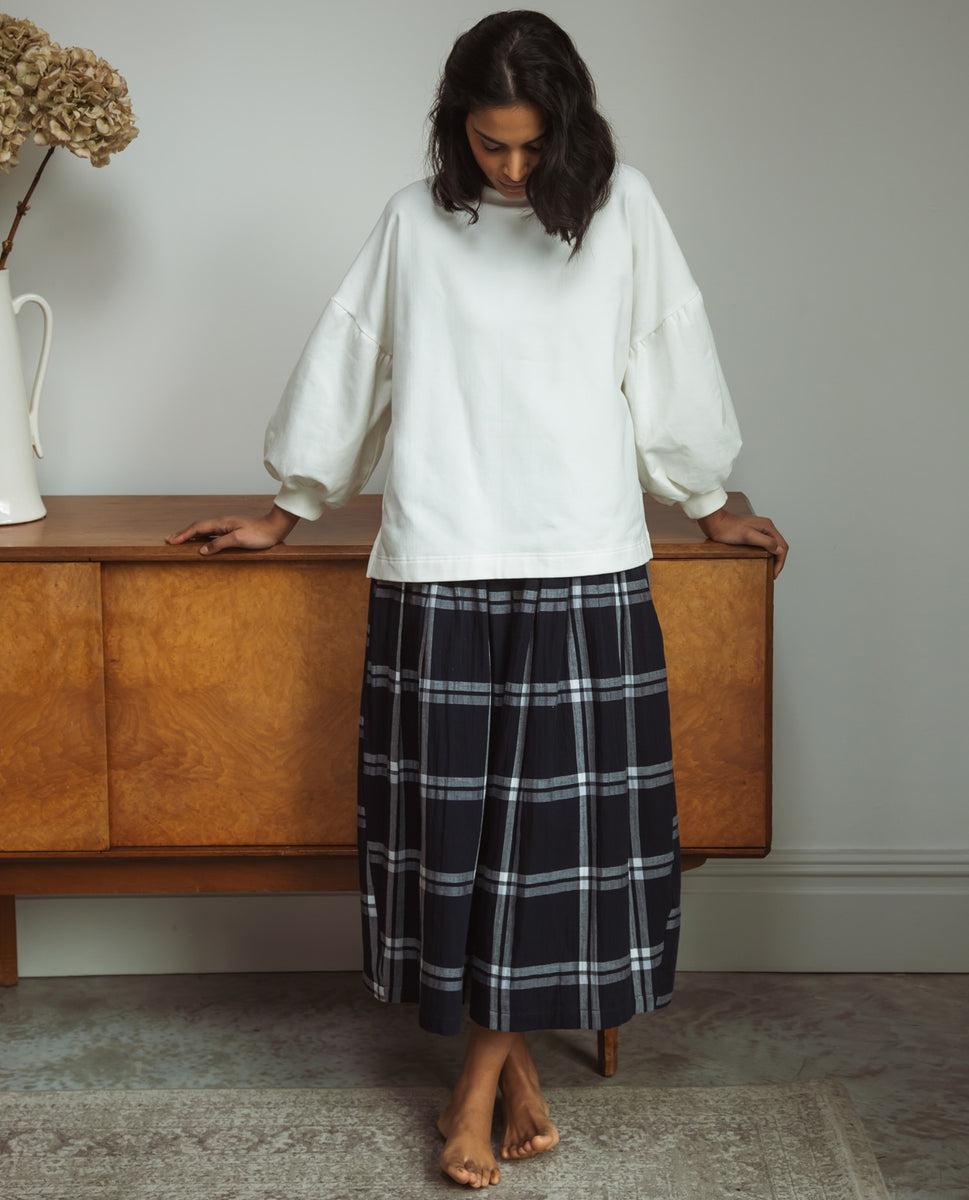 Pamela-Kay Organic Cotton Skirt In Navy & White Check