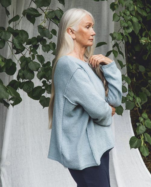 Beaumont Organic Alessandra Recycled Cotton Jumper In Pale Blue