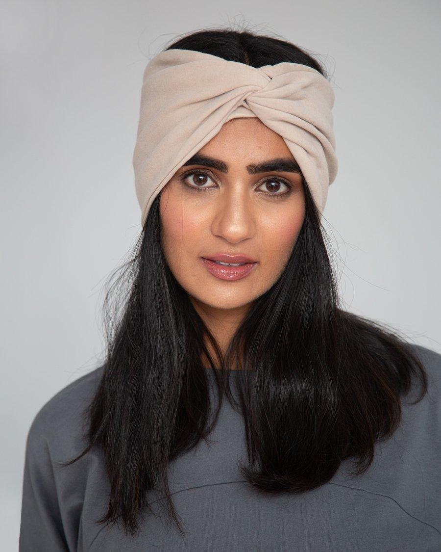 Anjalina Organic Cotton Headband In Sand