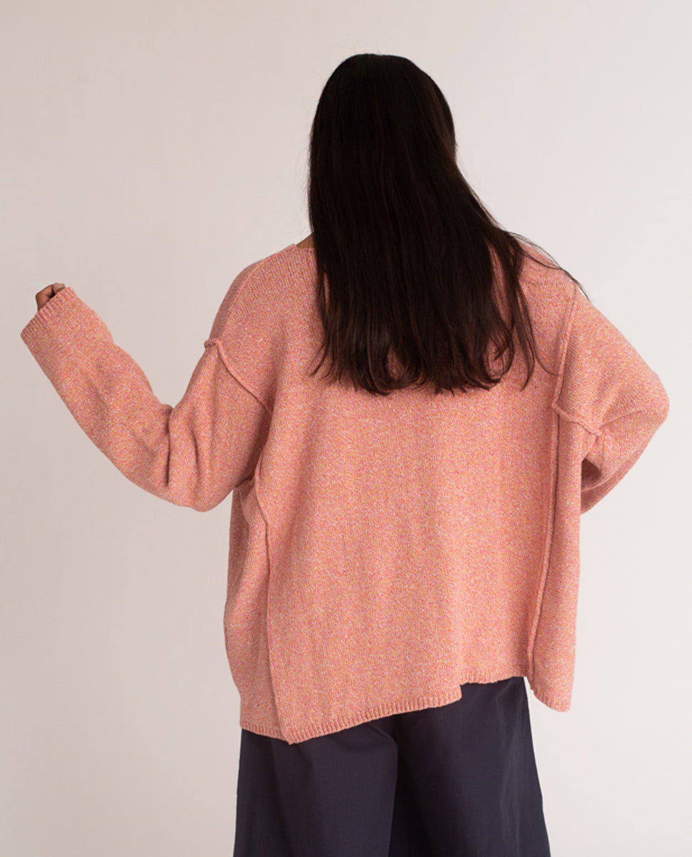 Beaumont Organic Alessandra Recycled Cotton Jumper In Coral