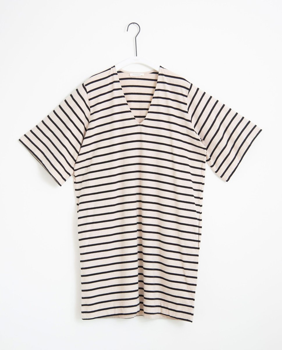 Sasha-Sue Organic Cotton Dress In Bone Marl & Black
