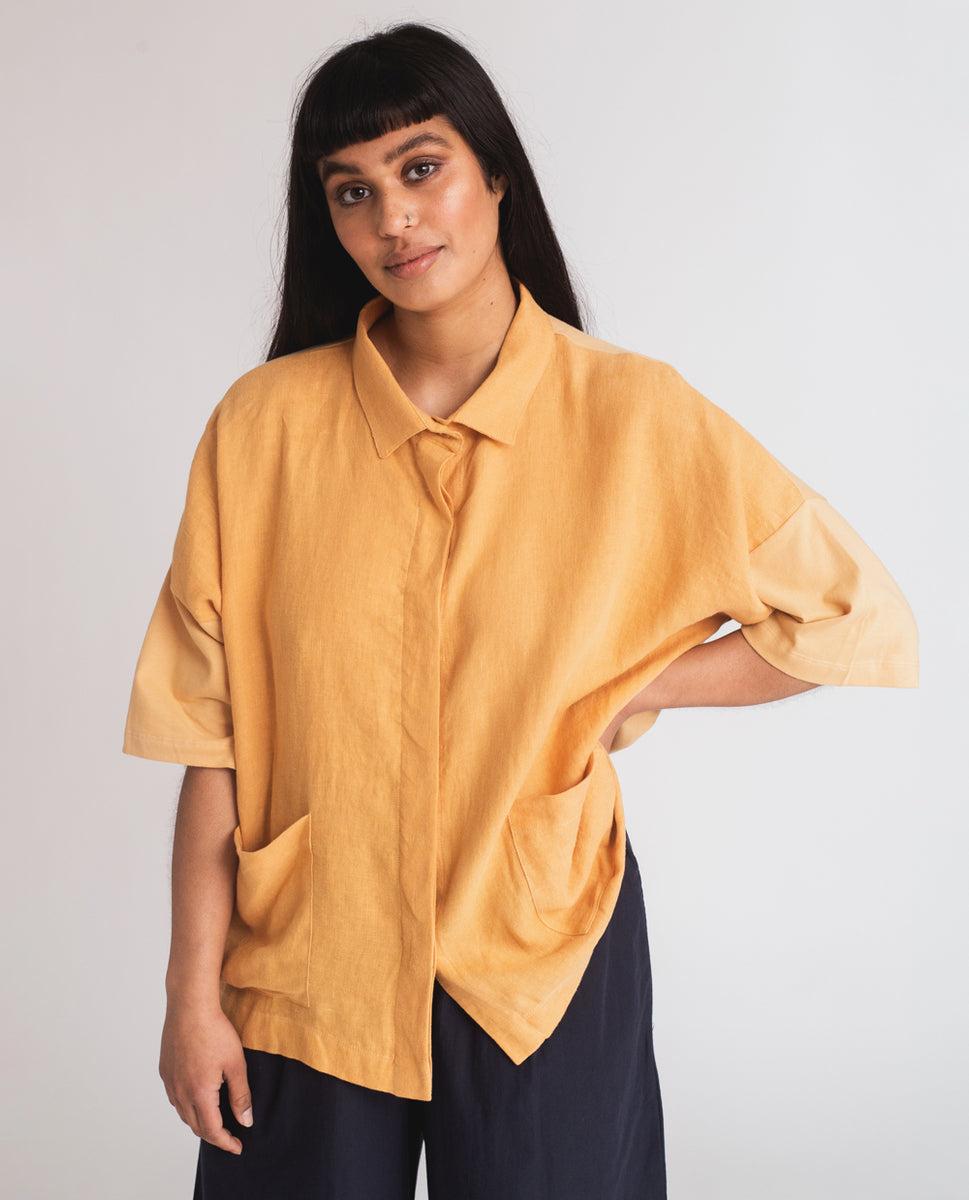 Beaumont Organic Naomi-May Organic Cotton & Linen Shirt In Gold