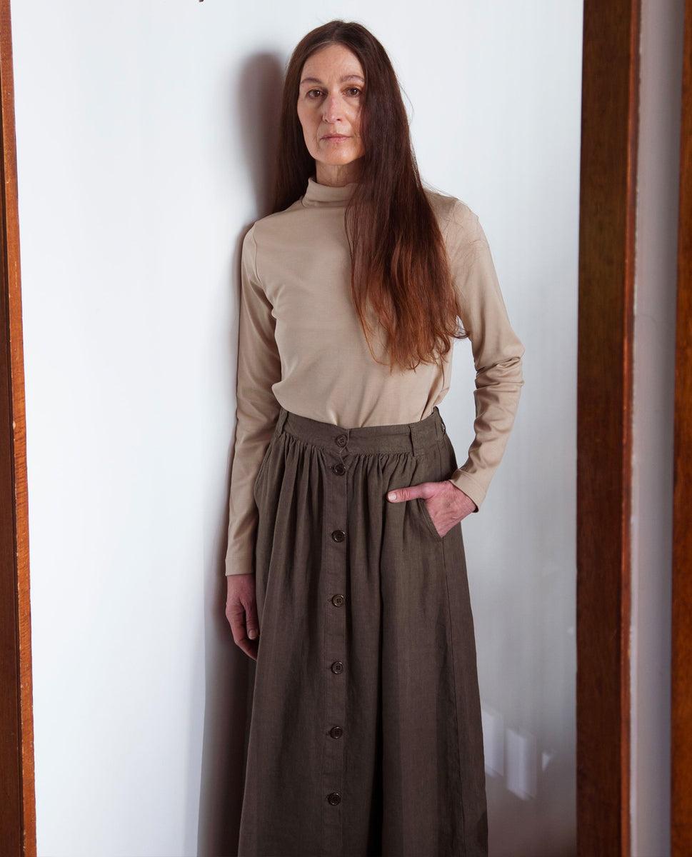 Ursa Linen Skirt In Crocodile
