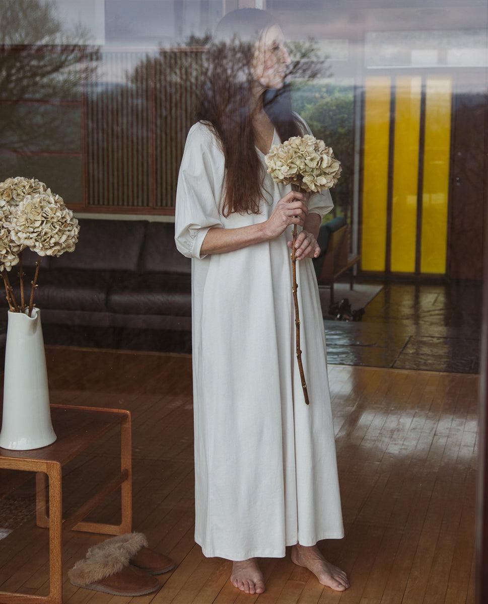 Wilhelmina Organic Cotton Dress In Perfectly Pale