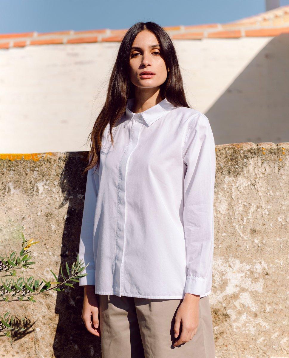 Celia Organic Cotton & Tencel Shirt In White