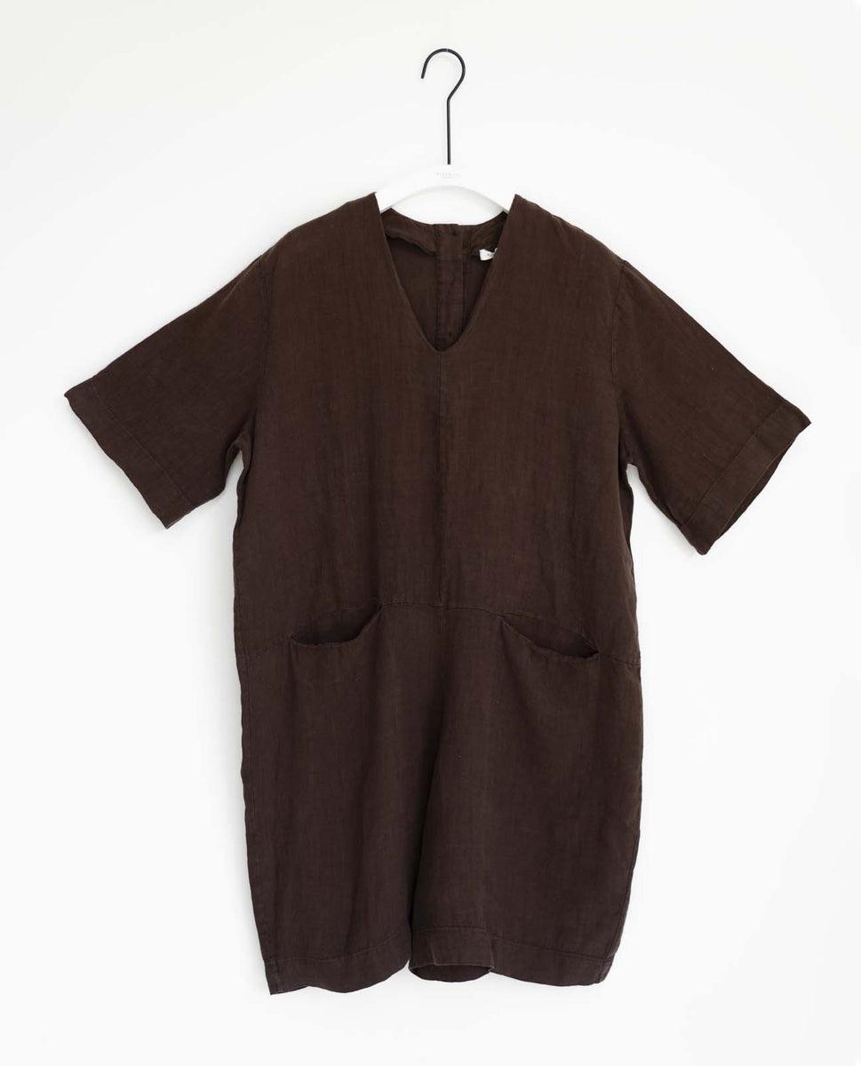 Nova Linen Jumpsuit In Chocolate