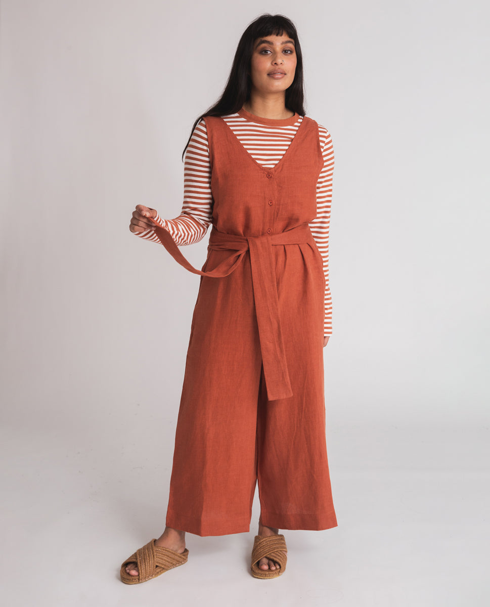 Gianna Linen Jumpsuit In Clay