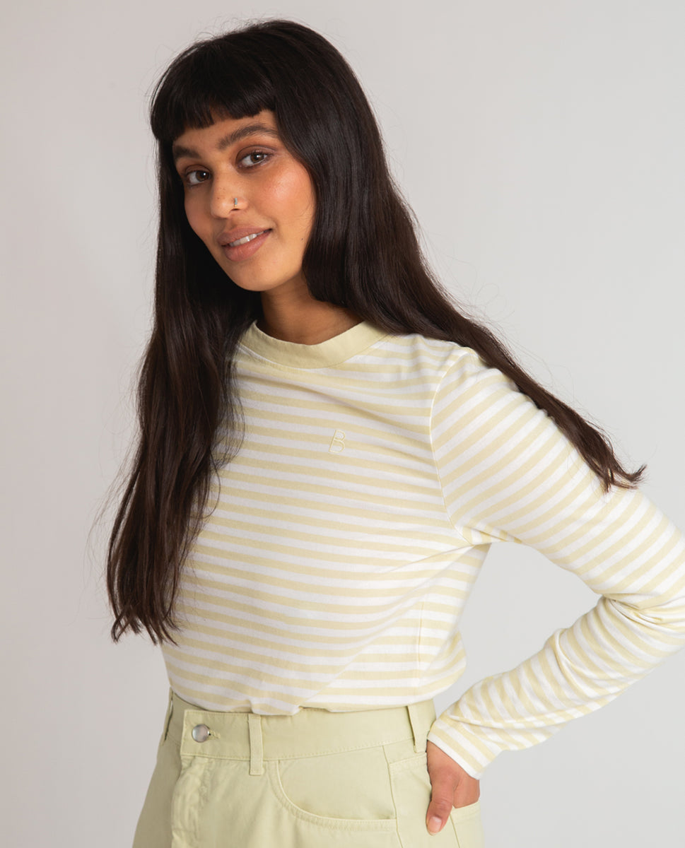 Beaumont Organic Shoba Organic Cotton Top In Off White & Soft Green