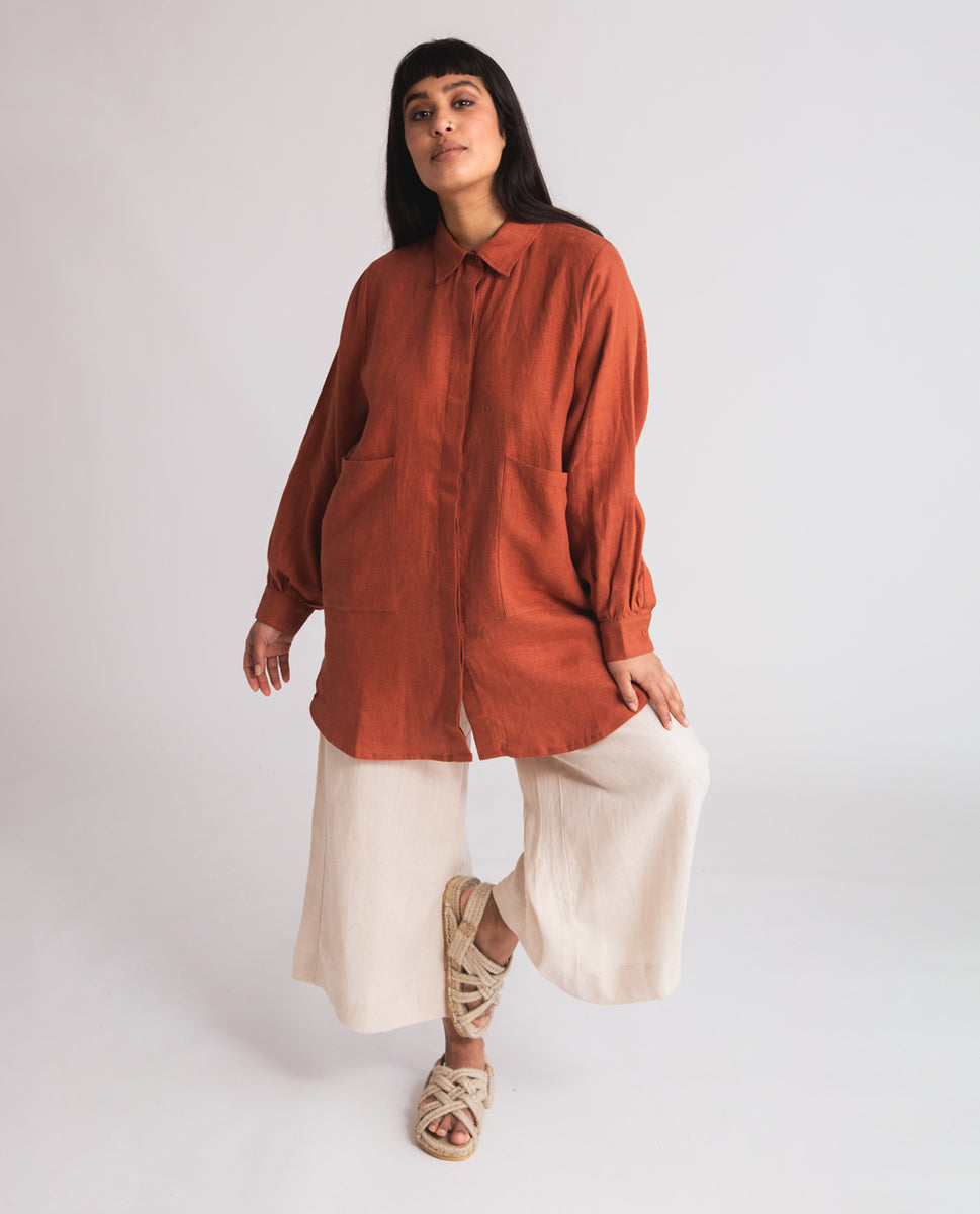 Jacqueline Linen Shirt In Clay