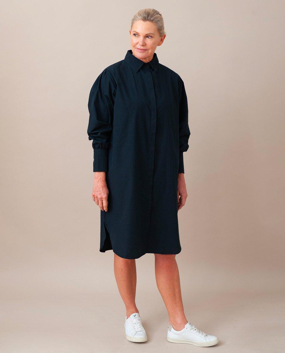 LARA Organic Cotton Dress In Deep Indigo