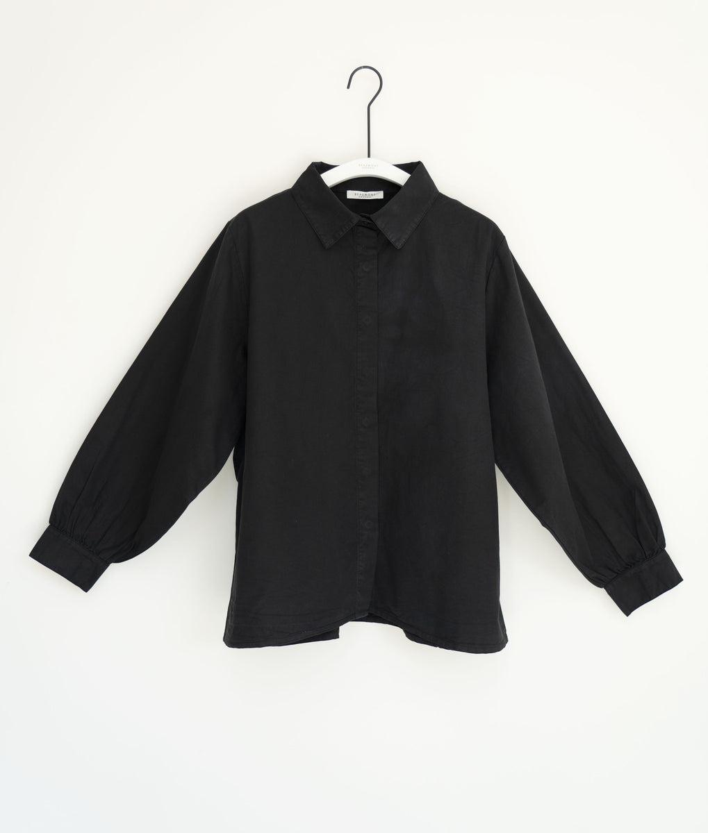 Celia Organic Cotton & Tencel Shirt In Black