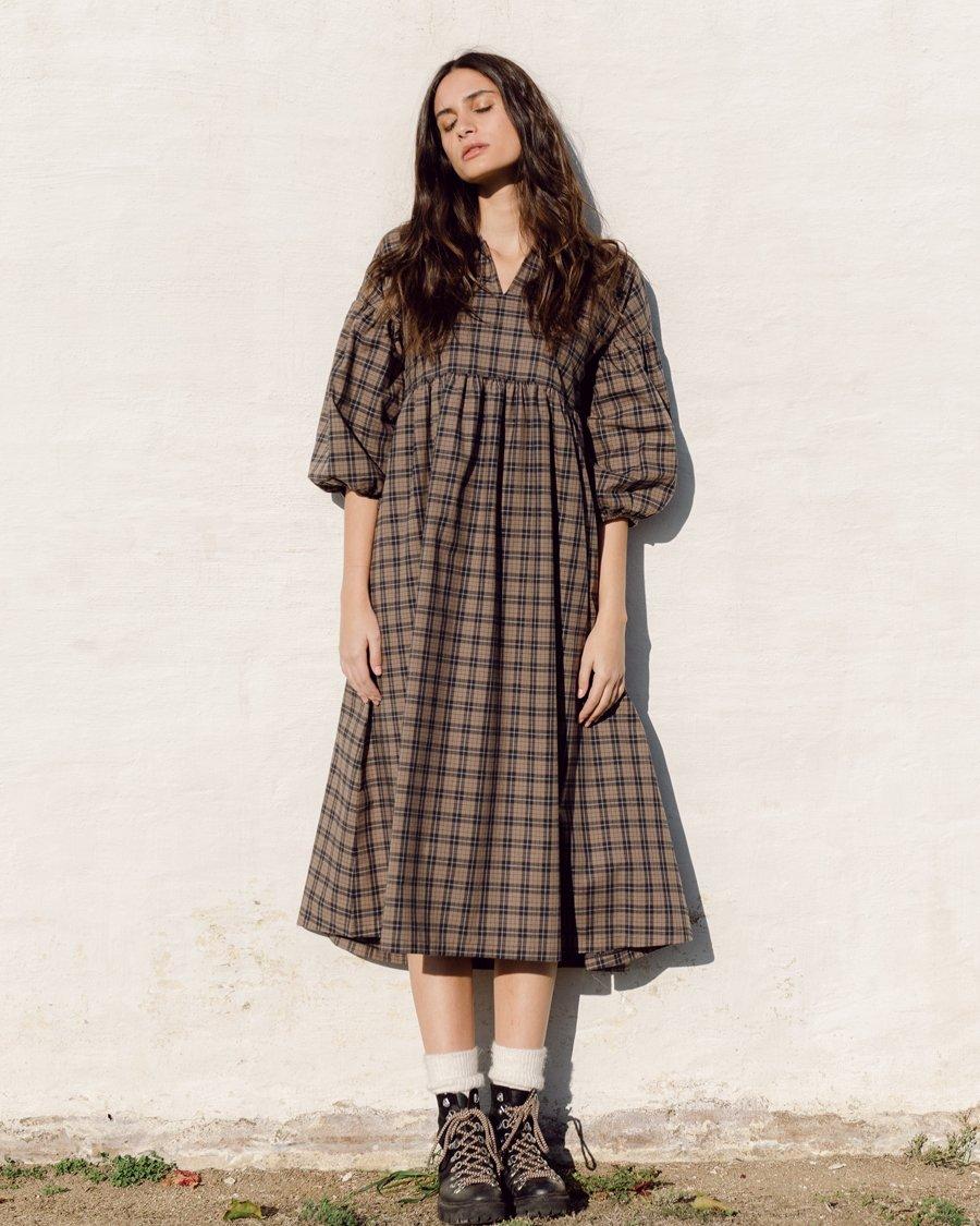 Meilani-Mel Organic Cotton Dress In Plaid