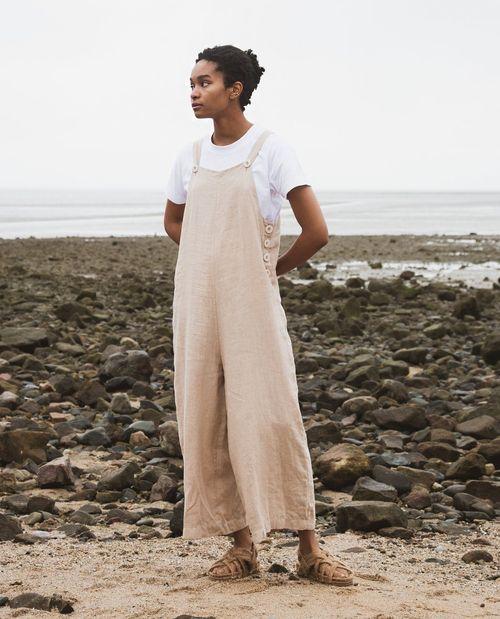 Unity Linen Jumpsuit In Sand.