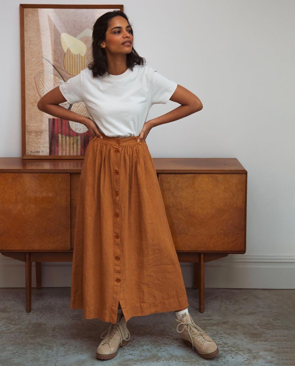 Ursa Linen Skirt In Almond