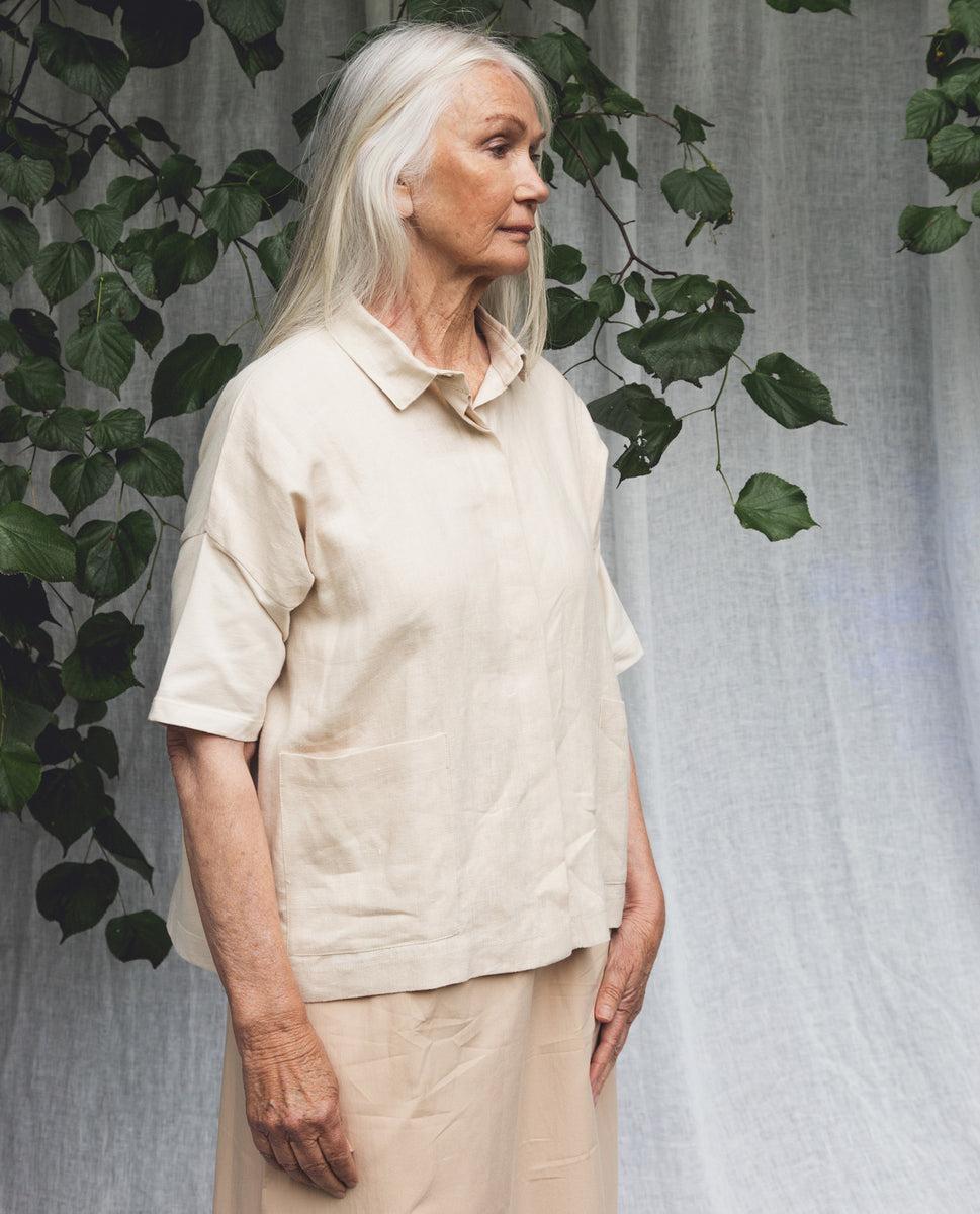 Beaumont Organic Naomi-May Organic Cotton & Linen Shirt In Cream