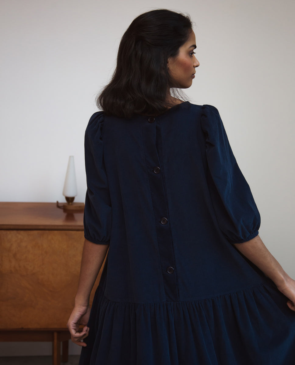Beaumont Organic Glynis Cord Dress In Navy