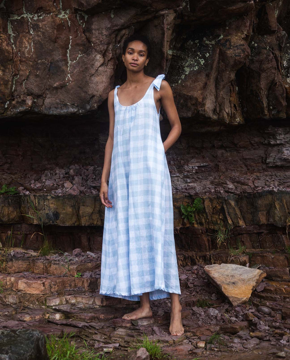 Pansy-Gee Linen Gingham Dress In Pale Blue