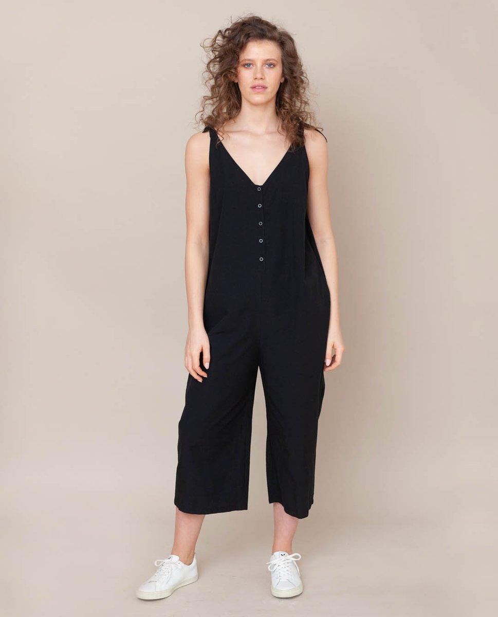 Penelope Organic Cotton Jumpsuit In Black