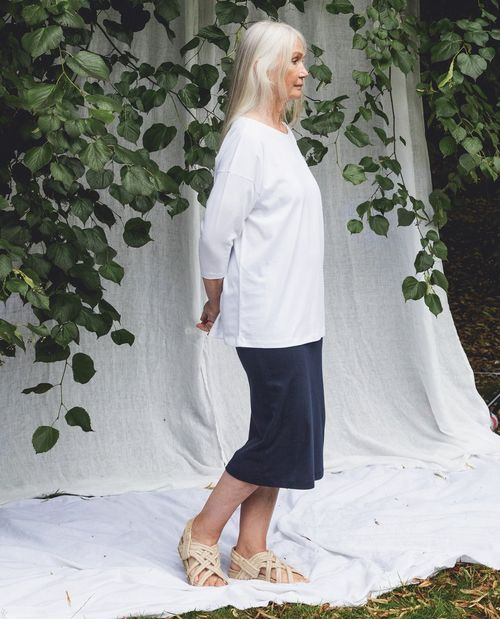 Pam Organic Cotton Skirt In Navy.