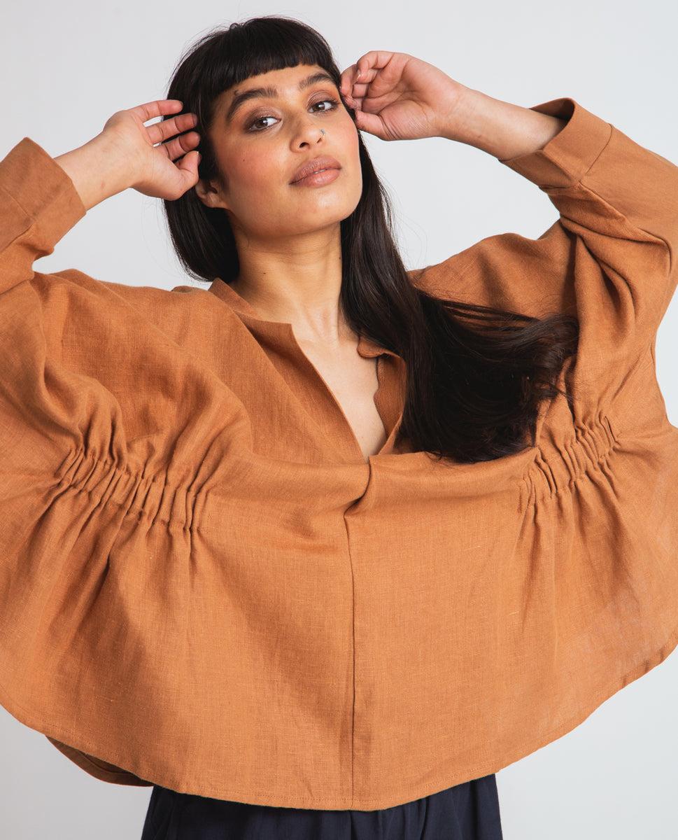 Ximena-May Organic Cotton & Linen Blouse In Tan