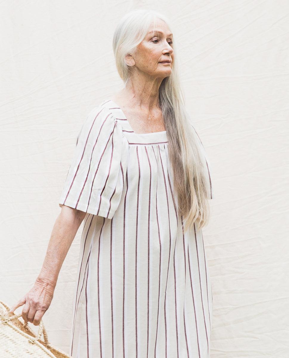 Beaumont Organic Lesley-Sue Linen Dress In Cream & Plum.
