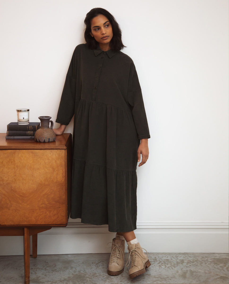 Cass Cord Dress In Army