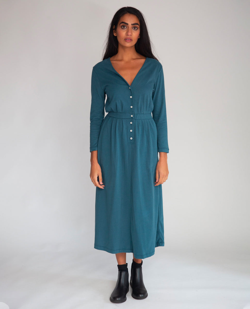Beaumont Organic Ruth Organic Cotton Dress In Teal