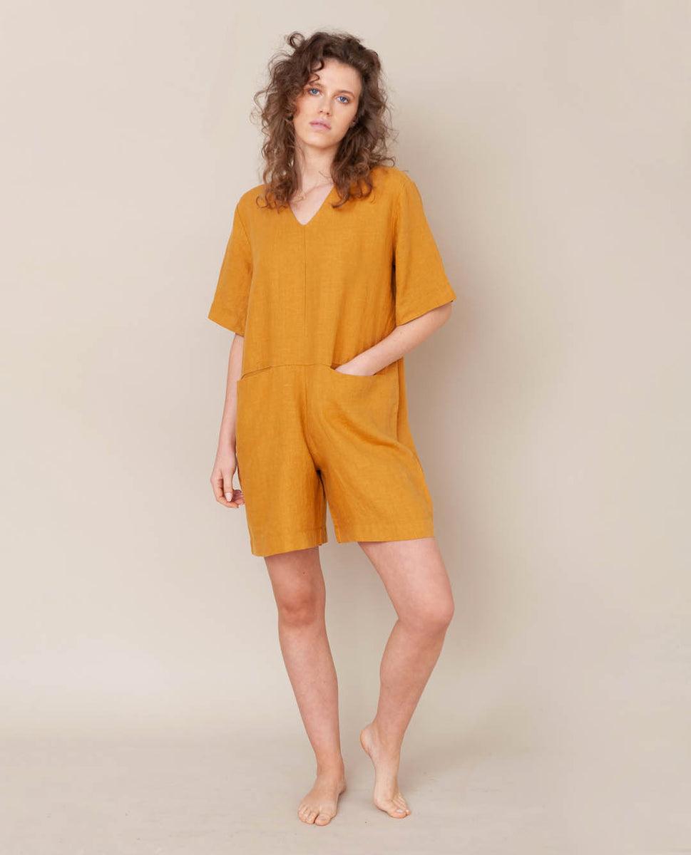 Nova Linen Jumpsuit In Sun