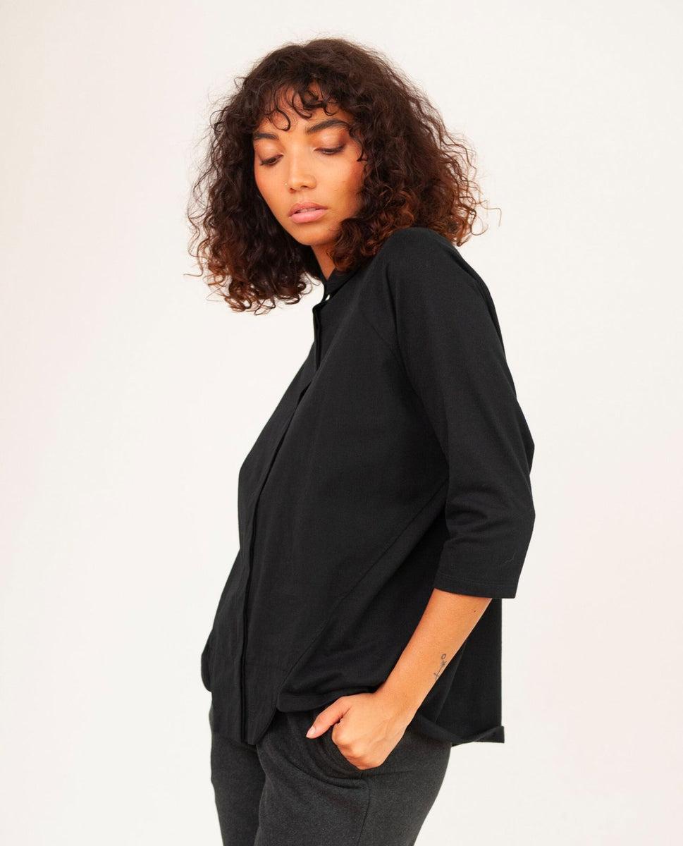 Beaumont Organic Terry Organic Cotton Shirt In Black