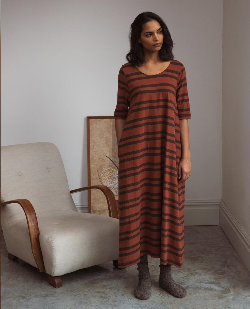 Victoria-Sue Organic Cotton Dress In Tortoiseshell & Chocolate