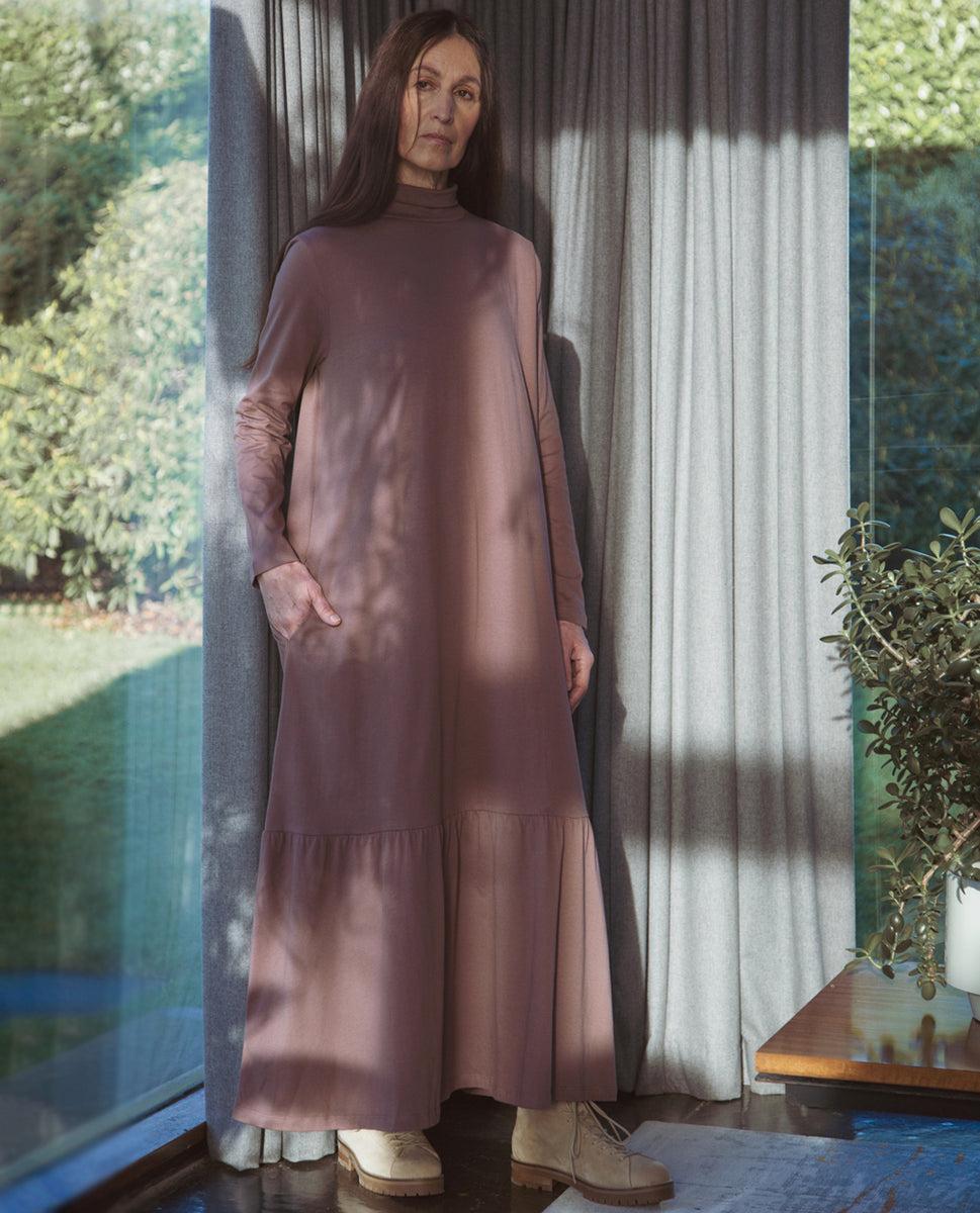 Nellie Organic Cotton Dress In Peppercorn