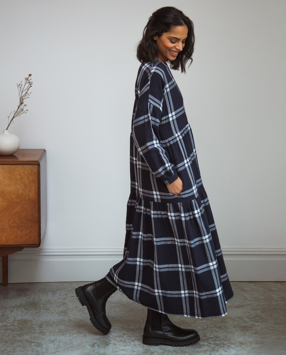 Beaumont Organic Mirabelle-Kay Organic Cotton Dress In Navy & White Check
